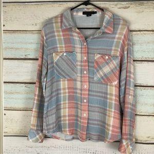 Sanctuary Tomboy Shirt Plaid Button Front